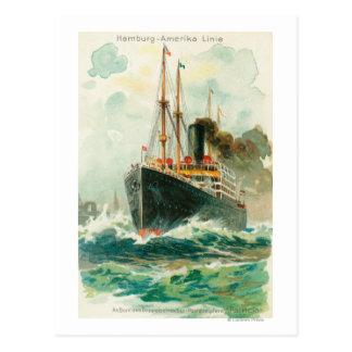 View of the Patricia at Sea, Hamburg-America Postcard