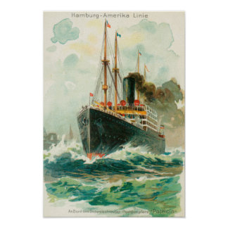 View of the Patricia at Sea, Hamburg-America Poster