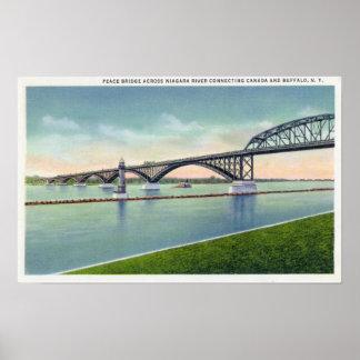 View of the Peace Bridge over Niagara River Poster