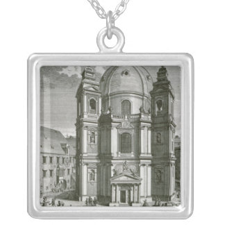 View of the Peterskirche Silver Plated Necklace