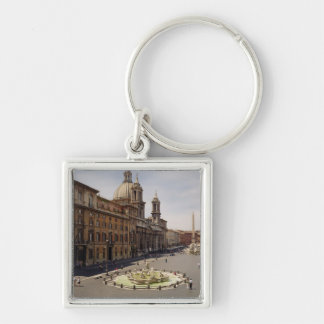 View of the piazza Silver-Colored square keychain