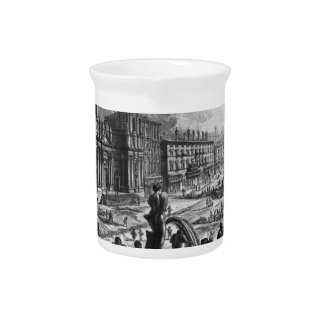View of the Piazza Navona on the ruins Beverage Pitcher