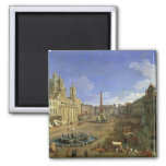 View of the Piazza Navona, Rome 2 Inch Square Magnet