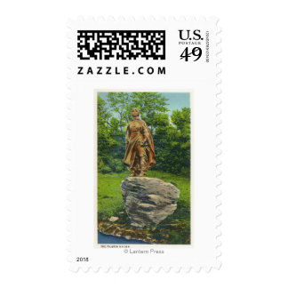 View of the Pilgrim Maiden Statue Stamps