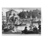 View of the pond of the Court at Fontainebleau Greeting Card