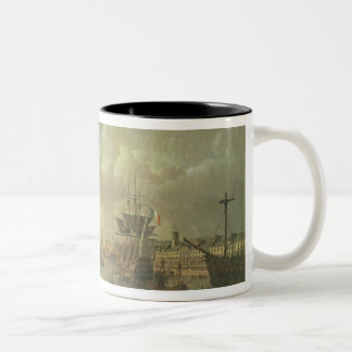 View of the Port at Brest Two-Tone Coffee Mug