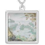 View of the Port of Acapulco Square Pendant Necklace