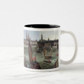 View of the Port of Antwerp Two-Tone Coffee Mug
