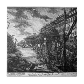 View of the Port of Ripetta by Giovanni Battista Ceramic Tile