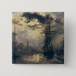 View of the Port, or The Windmills in Pinback Button