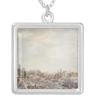 View of the Port Saint-Paul, Paris, 1782 Silver Plated Necklace