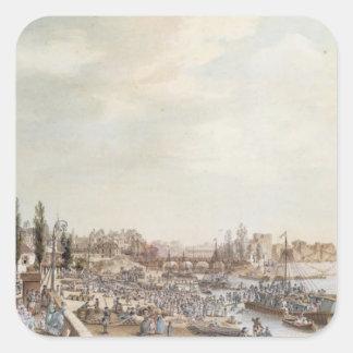 View of the Port Saint-Paul, Paris, 1782 Square Sticker