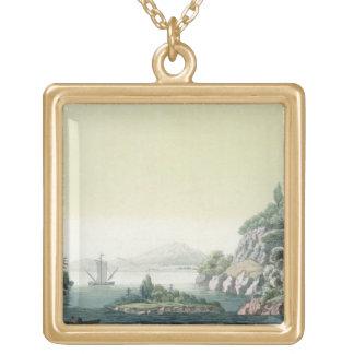 View of the Potomac river near Mount Vernon (colou Square Pendant Necklace