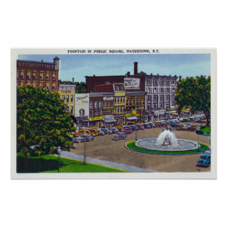 View of the Public Square Fountain Poster