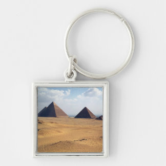 View of the Pyramids of Cheops Silver-Colored Square Keychain