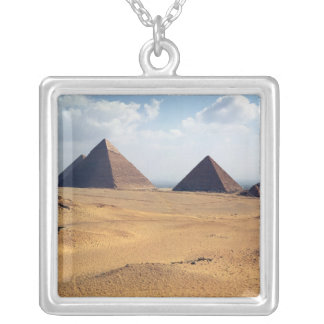 View of the Pyramids of Cheops Square Pendant Necklace