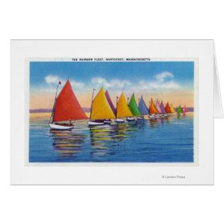 View of the Rainbow Sailboat Fleet Greeting Card