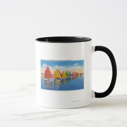 View of the Rainbow Sailboat Fleet Mug