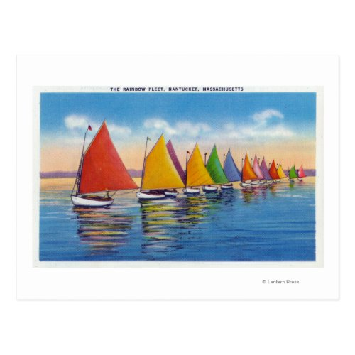 View of the Rainbow Sailboat Fleet Postcard