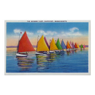 View of the Rainbow Sailboat Fleet Poster