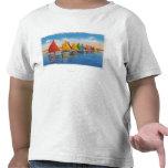 View of the Rainbow Sailboat Fleet Tee Shirt