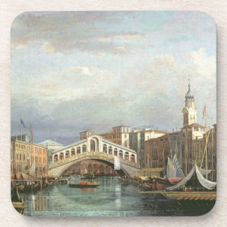 View of the Rialto Bridge in Venice Drink Coaster