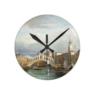 View of the Rialto Bridge in Venice Round Clock