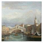 View of the Rialto Bridge in Venice Large Square Tile