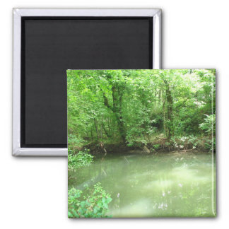 View of the River 2 Inch Square Magnet