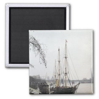 View of the River Thames with RRS Discovery 2 Inch Square Magnet