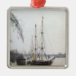 View of the River Thames with RRS Discovery Metal Ornament
