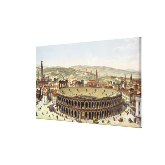 View of the Roman Amphitheatre, Verona, engraved b Stretched Canvas Print