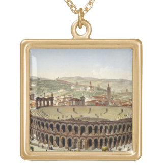 View of the Roman Amphitheatre, Verona, engraved b Square Pendant Necklace