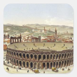 View of the Roman Amphitheatre, Verona, engraved b Square Sticker