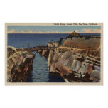 View of the Rustic Bridge & Sunset Cliffs Poster