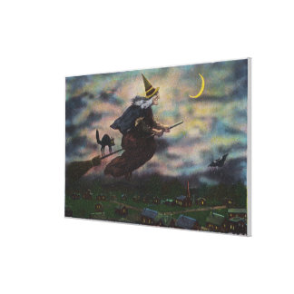 View of the Salem Witch on her Broom Canvas Print