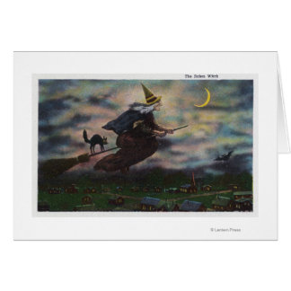 View of the Salem Witch on her Broom Card