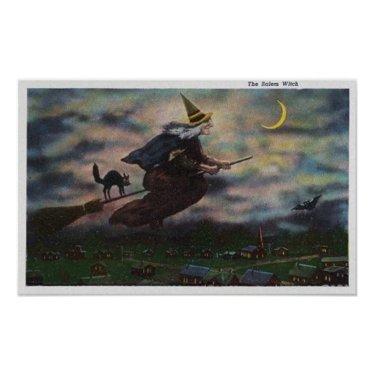 View of the Salem Witch on her Broom Poster