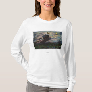 View of the Salem Witch on her Broom T-Shirt