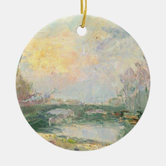 View of the Seine, Paris (oil on canvas) Ceramic Ornament