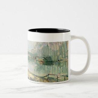 View of the Seine, Paris (oil on canvas) Two-Tone Coffee Mug