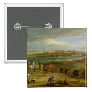 View of the Siege of Dole 2 Inch Square Button