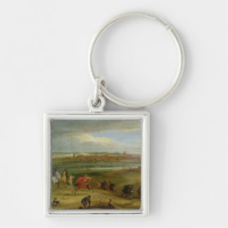View of the Siege of Dole Silver-Colored Square Keychain