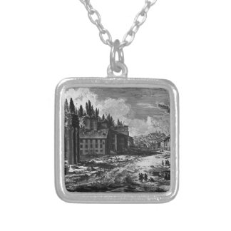 View of the site where was the ancient Roman Forum Silver Plated Necklace