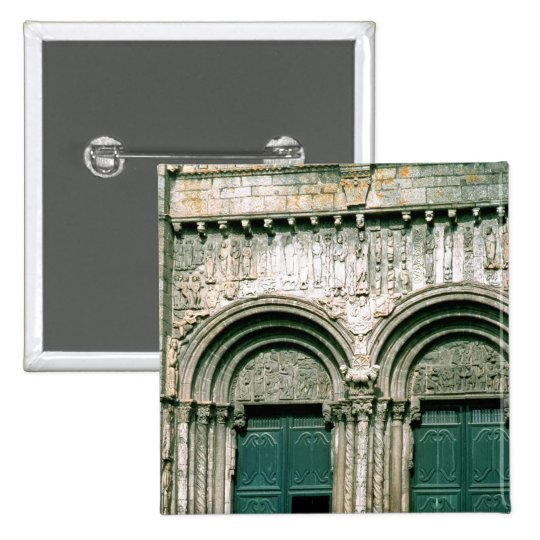 View of the south transept portal  c.1100-04 pinback button