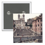 View of the Spanish Steps or Scalinata 2 Inch Square Button
