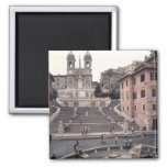 View of the Spanish Steps or Scalinata 2 Inch Square Magnet