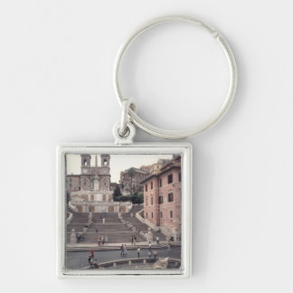 View of the Spanish Steps or Scalinata Silver-Colored Square Keychain