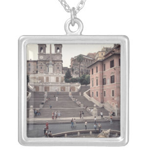 View Of The Spanish Steps Or Scalinata Silver Plated Necklace