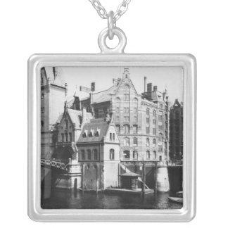 View of the Speicherstadt  Hamburg, c.1910 Silver Plated Necklace
